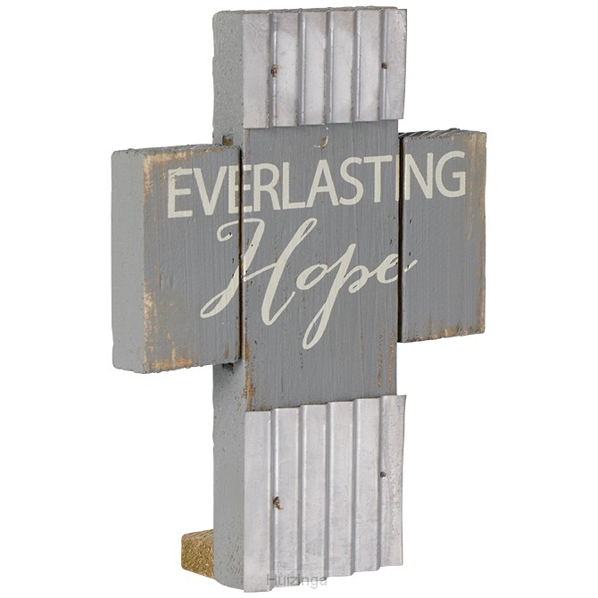 Mini wood/metal cross everlasting hope