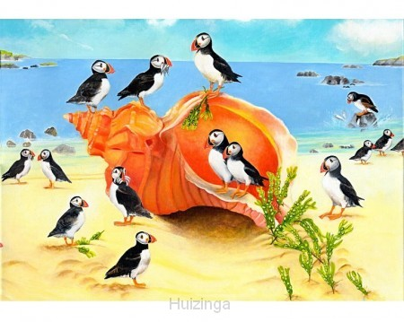 Puffins on a seashell**